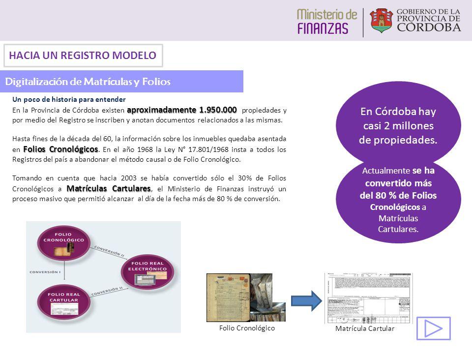 Un poco de historia para entender aproximadamente 1.950.000 En la Provincia de Córdoba existen aproximadamente 1.950.000 propiedades y por medio del Registro se inscriben y anotan documentos relacionados a las mismas.