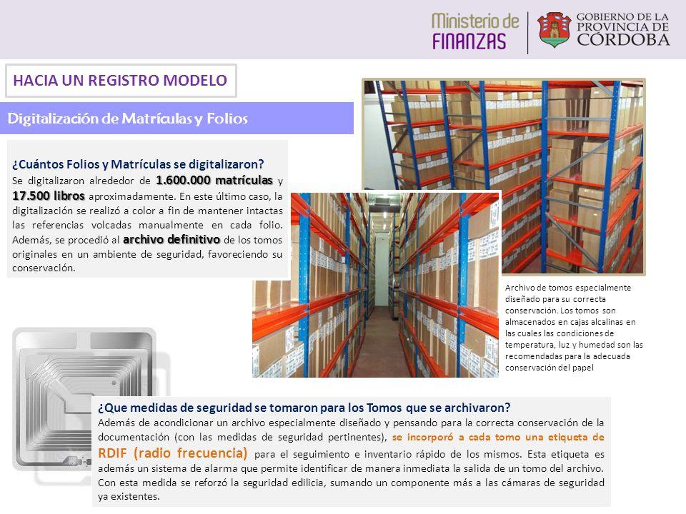 HACIA UN REGISTRO MODELO Digitalización de Matrículas y Folios Archivo de tomos especialmente diseñado para su correcta conservación. Los tomos son al