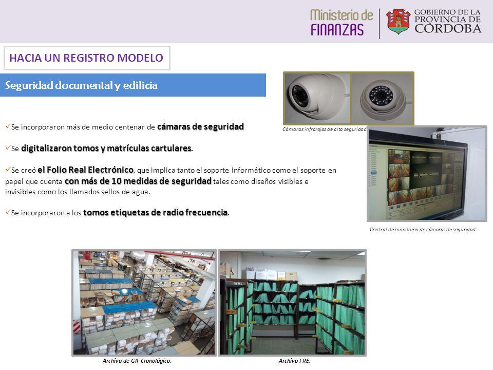 Seguridad documental y edilicia HACIA UN REGISTRO MODELO cámaras de seguridad Se incorporaron más de medio centenar de cámaras de seguridad digitaliza