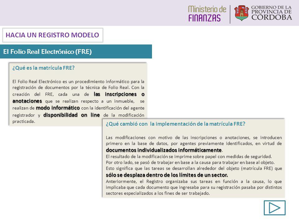 ¿Qué es la matrícula FRE? las inscripciones o anotaciones modo informático disponibilidad on line El Folio Real Electrónico es un procedimiento inform