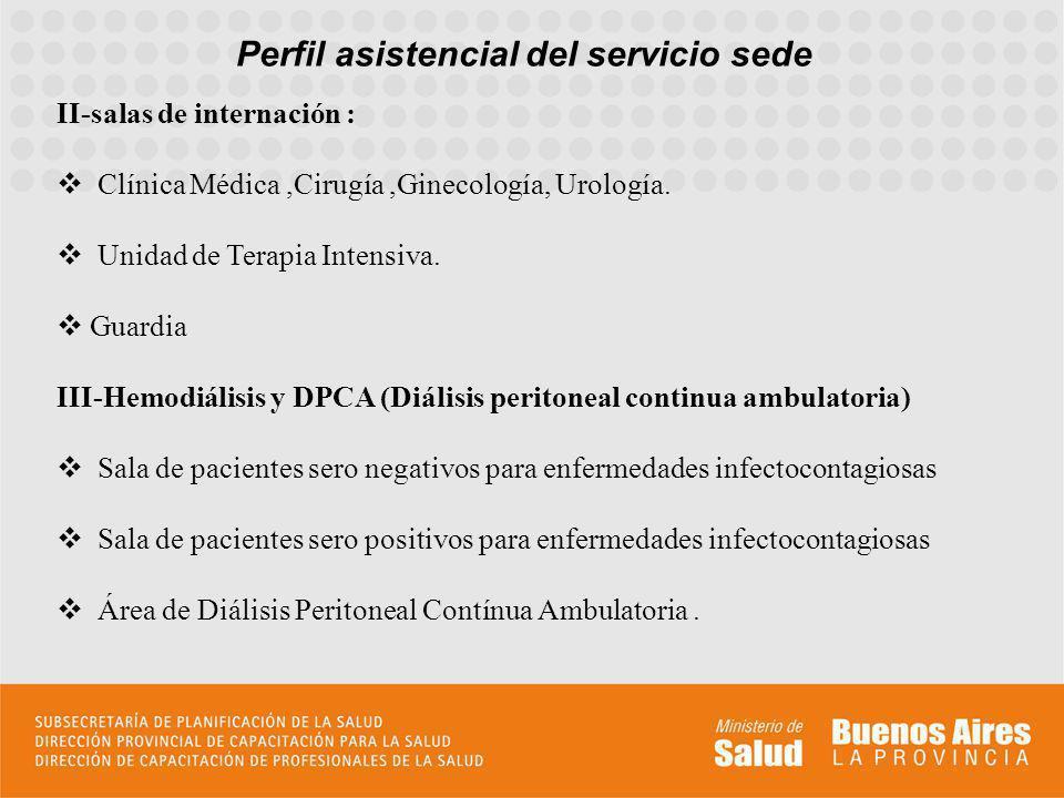Perfil asistencial del servicio sede II-salas de internación : Clínica Médica,Cirugía,Ginecología, Urología. Unidad de Terapia Intensiva. Guardia III-