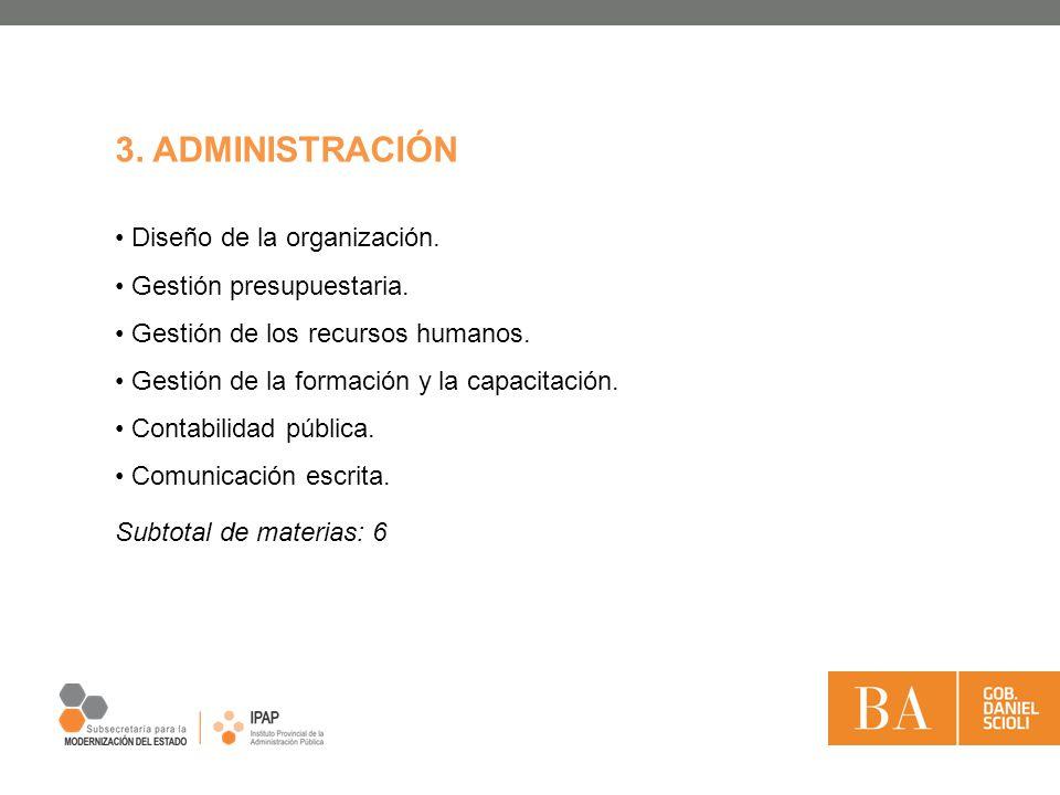 Diseño de la organización. Gestión presupuestaria. Gestión de los recursos humanos. Gestión de la formación y la capacitación. Contabilidad pública. C