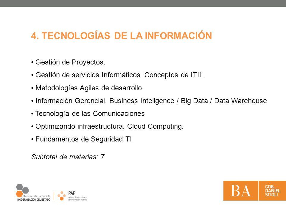Gestión de Proyectos. Gestión de servicios Informáticos. Conceptos de ITIL Metodologías Agiles de desarrollo. Información Gerencial. Business Intelige