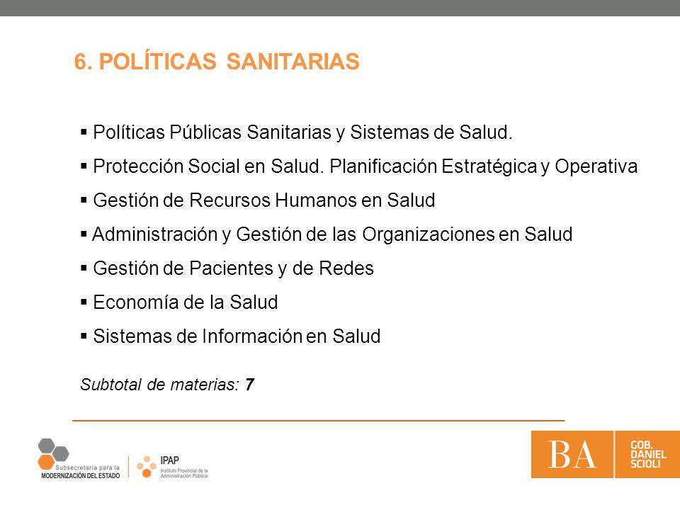 Políticas Públicas Sanitarias y Sistemas de Salud. Protección Social en Salud. Planificación Estratégica y Operativa Gestión de Recursos Humanos en Sa