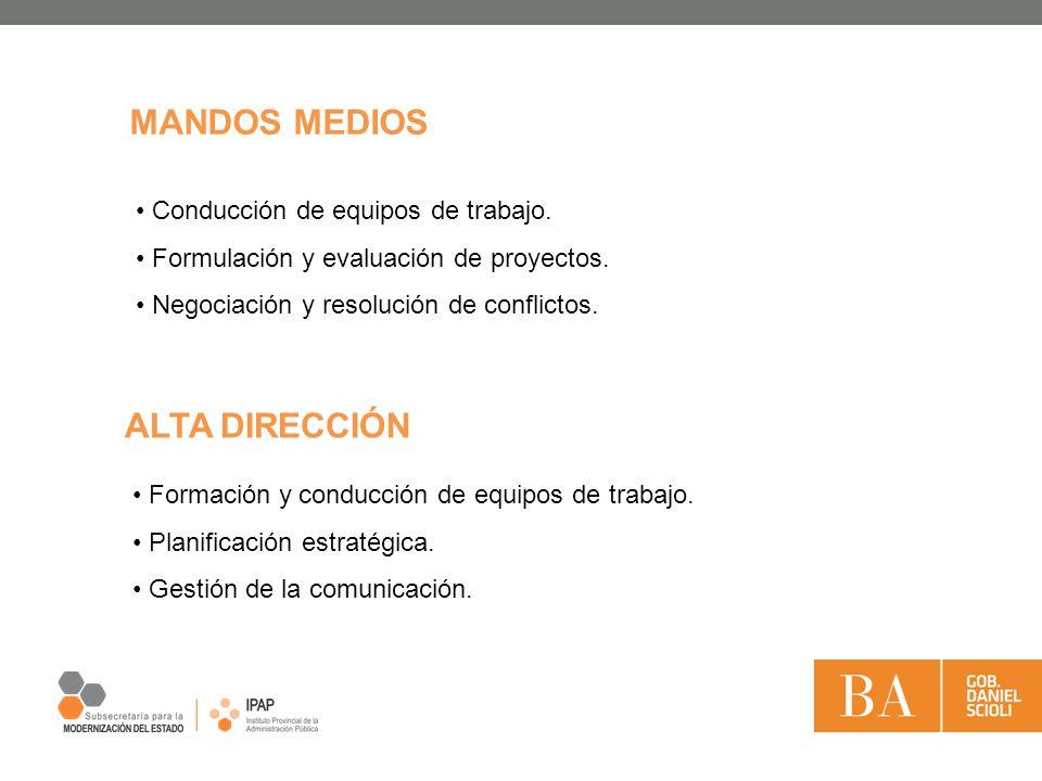 MANDOS MEDIOS Conducción de equipos de trabajo.Formulación y evaluación de proyectos.