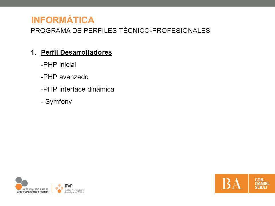 INFORMÁTICA PROGRAMA DE PERFILES TÉCNICO-PROFESIONALES 1.Perfil Desarrolladores -PHP inicial -PHP avanzado -PHP interface dinámica - Symfony