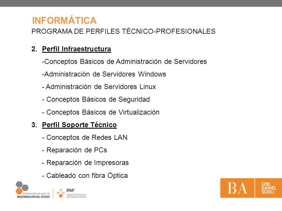 INFORMÁTICA PROGRAMA DE PERFILES TÉCNICO-PROFESIONALES 2.Perfil Infraestructura -Conceptos Básicos de Administración de Servidores -Administración de