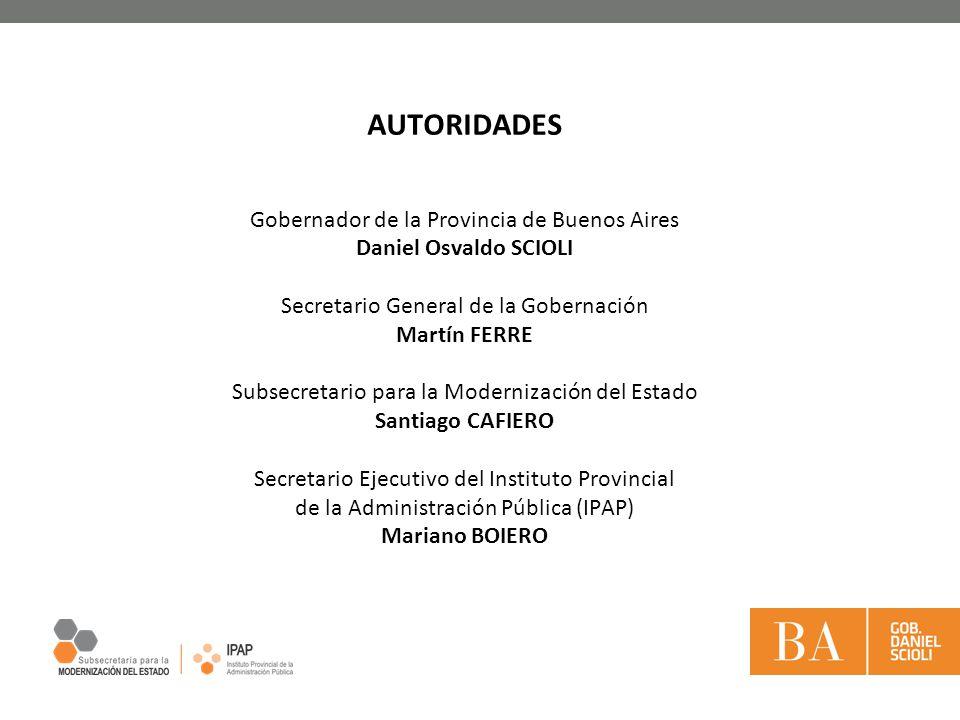 AUTORIDADES Gobernador de la Provincia de Buenos Aires Daniel Osvaldo SCIOLI Secretario General de la Gobernación Martín FERRE Subsecretario para la M