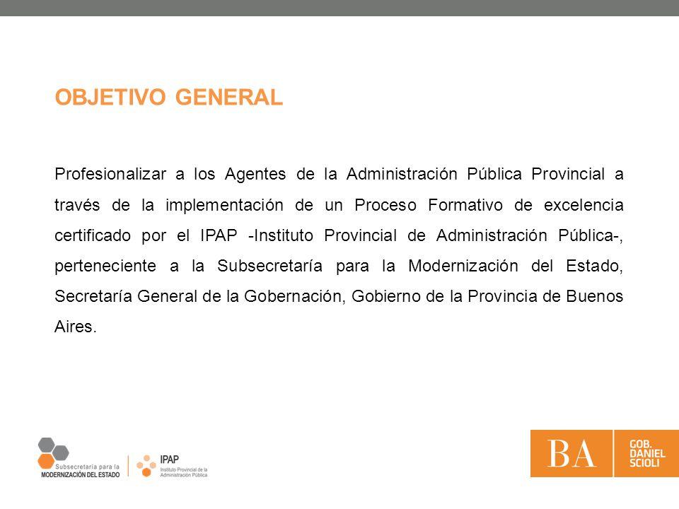 OBJETIVO GENERAL Profesionalizar a los Agentes de la Administración Pública Provincial a través de la implementación de un Proceso Formativo de excele