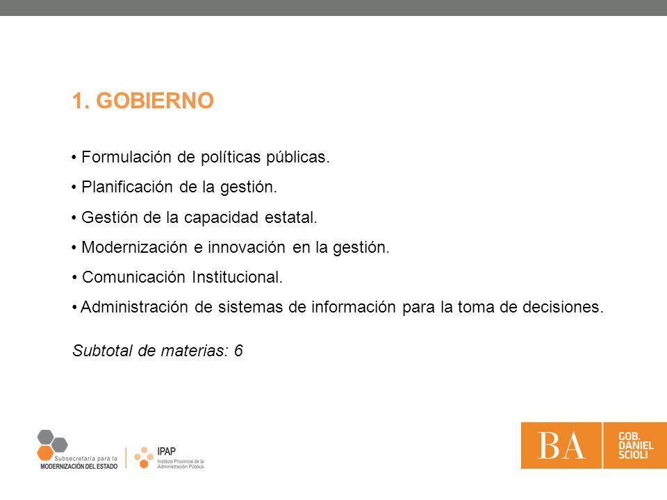 1. GOBIERNO Formulación de políticas públicas. Planificación de la gestión. Gestión de la capacidad estatal. Modernización e innovación en la gestión.