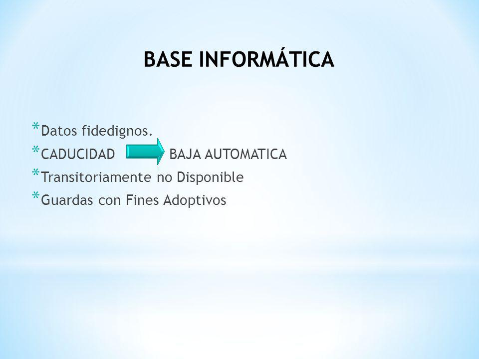 * Datos fidedignos. * CADUCIDAD BAJA AUTOMATICA * Transitoriamente no Disponible * Guardas con Fines Adoptivos BASE INFORMÁTICA