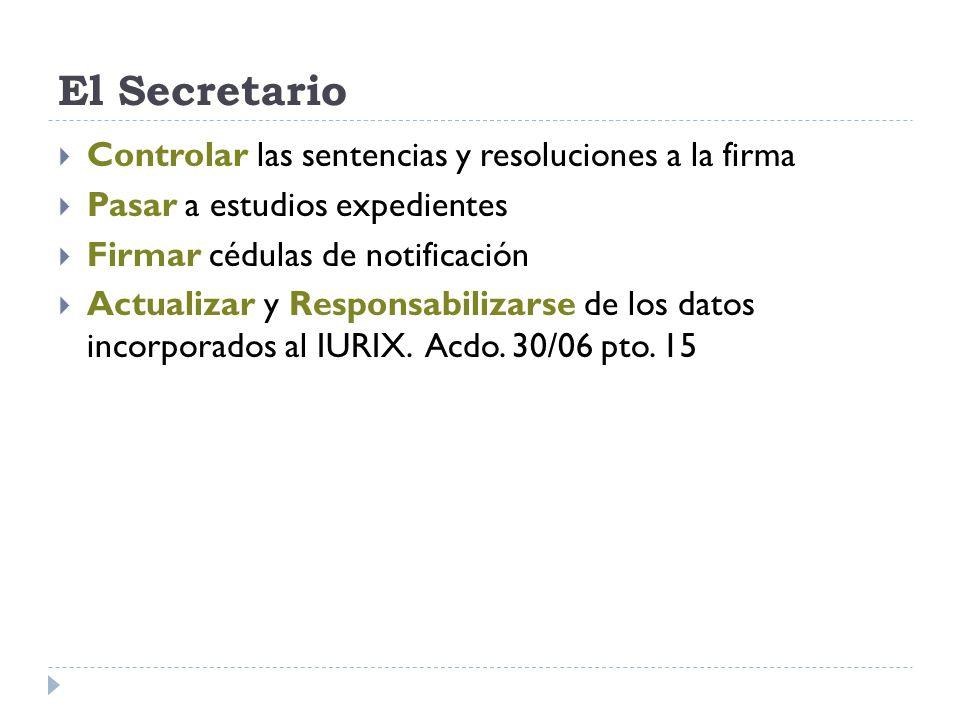 Controlar las sentencias y resoluciones a la firma Pasar a estudios expedientes Firmar cédulas de notificación Actualizar y Responsabilizarse de los datos incorporados al IURIX.