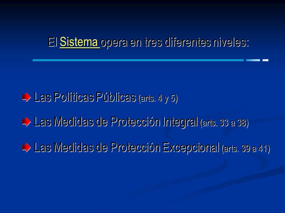 Las Políticas Públicas (arts. 4 y 5) Las Políticas Públicas (arts. 4 y 5) Las Medidas de Protección Integral (arts. 33 a 38) Las Medidas de Protección