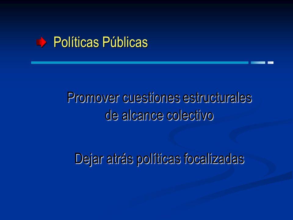 Políticas Públicas Políticas Públicas Promover cuestiones estructurales de alcance colectivo Dejar atrás políticas focalizadas