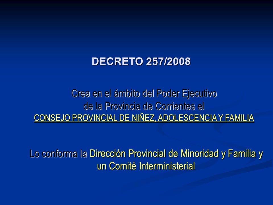 DECRETO 257/2008 Crea en el ámbito del Poder Ejecutivo de la Provincia de Corrientes el CONSEJO PROVINCIAL DE NIÑEZ, ADOLESCENCIA Y FAMILIA Lo conform