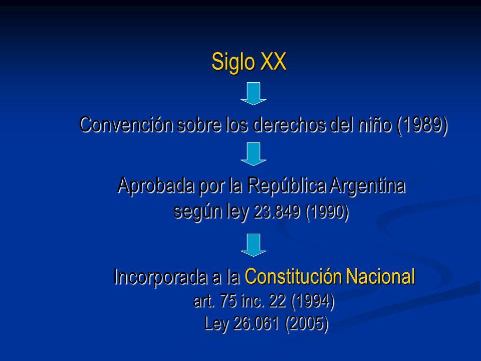 Incorporada a la Constitución Nacional art. 75 inc. 22 (1994) Ley 26.061 (2005) Siglo XX Convención sobre los derechos del niño (1989) Aprobada por la