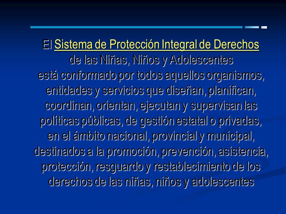 El Sistema de Protección Integral de Derechos de las Niñas, Niños y Adolescentes está conformado por todos aquellos organismos, entidades y servicios