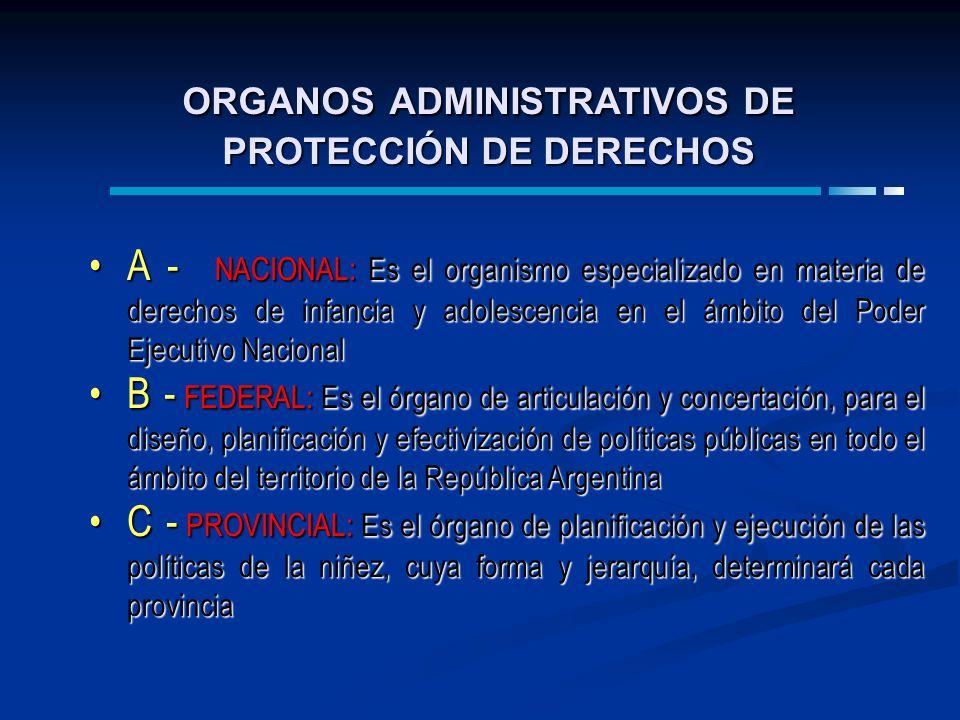 ORGANOS ADMINISTRATIVOS DE PROTECCIÓN DE DERECHOS A - NACIONAL: Es el organismo especializado en materia de derechos de infancia y adolescencia en el