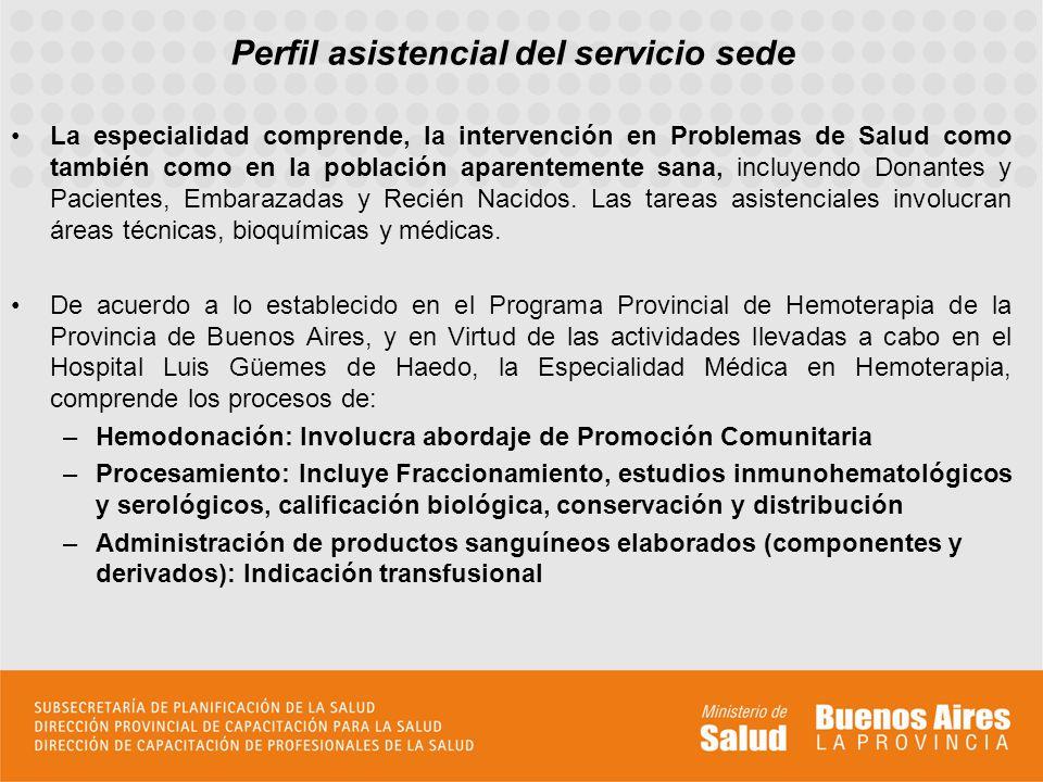 Perfil asistencial del servicio sede La especialidad comprende, la intervención en Problemas de Salud como también como en la población aparentemente sana, incluyendo Donantes y Pacientes, Embarazadas y Recién Nacidos.