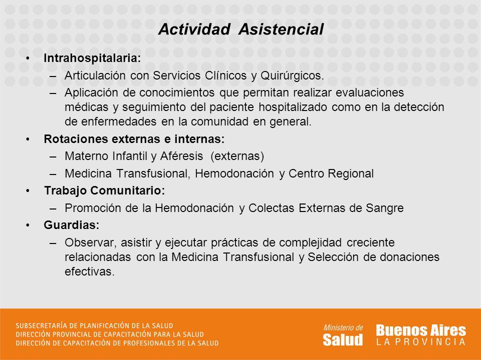 Intrahospitalaria: –Articulación con Servicios Clínicos y Quirúrgicos. –Aplicación de conocimientos que permitan realizar evaluaciones médicas y segui