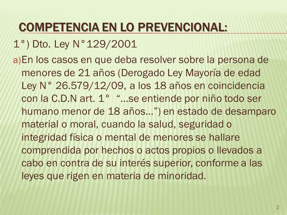 COMPETENCIA EN LO PREVENCIONAL: 1°) Dto.