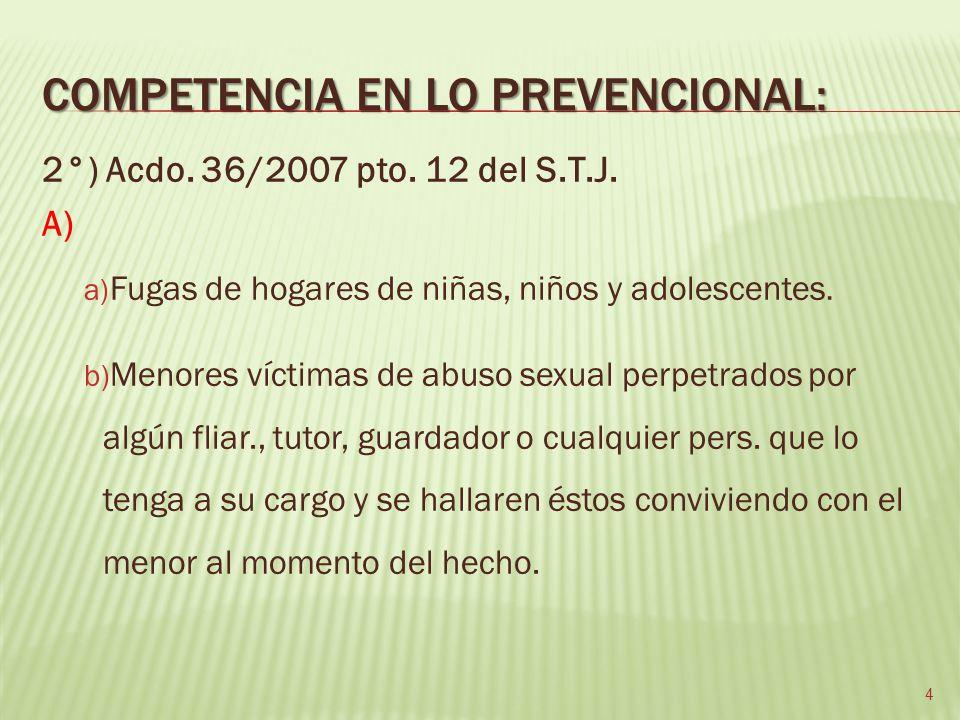 COMPETENCIA EN LO PREVENCIONAL: 2°) Acdo. 36/2007 pto.