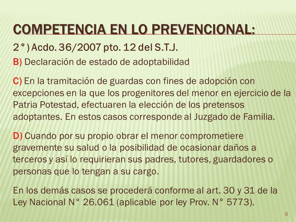 Secretaría Prevencional Función Adopción Medidas Proteccionales de menores en riesgo FísicoMoralSocial 7