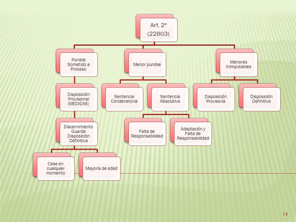 Art. 2º (22803) Punible Sometido a Proceso Disposición Provisional (MEDIDAS) Discernimiento Guarda Disposición Definitiva Cese en cualquier momento Ma