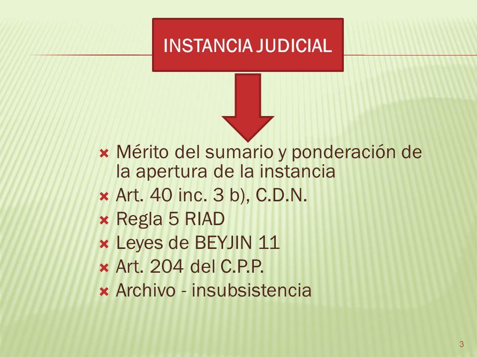 Mérito del sumario y ponderación de la apertura de la instancia Art. 40 inc. 3 b), C.D.N. Regla 5 RIAD Leyes de BEYJIN 11 Art. 204 del C.P.P. Archivo