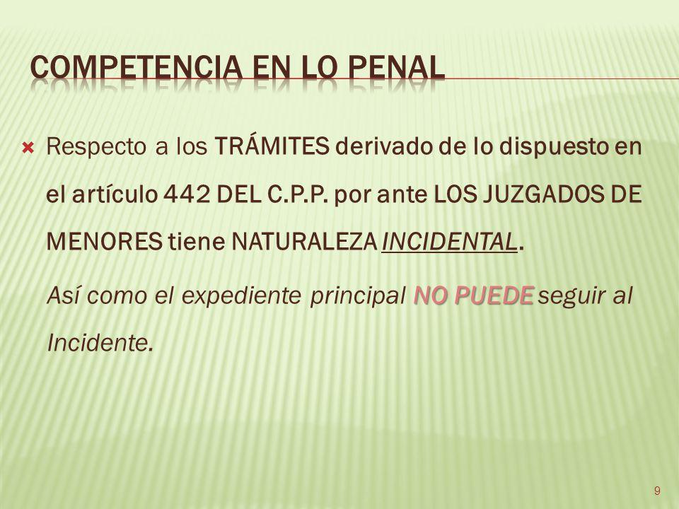 Respecto a los TRÁMITES derivado de lo dispuesto en el artículo 442 DEL C.P.P. por ante LOS JUZGADOS DE MENORES tiene NATURALEZA INCIDENTAL. NO PUEDE