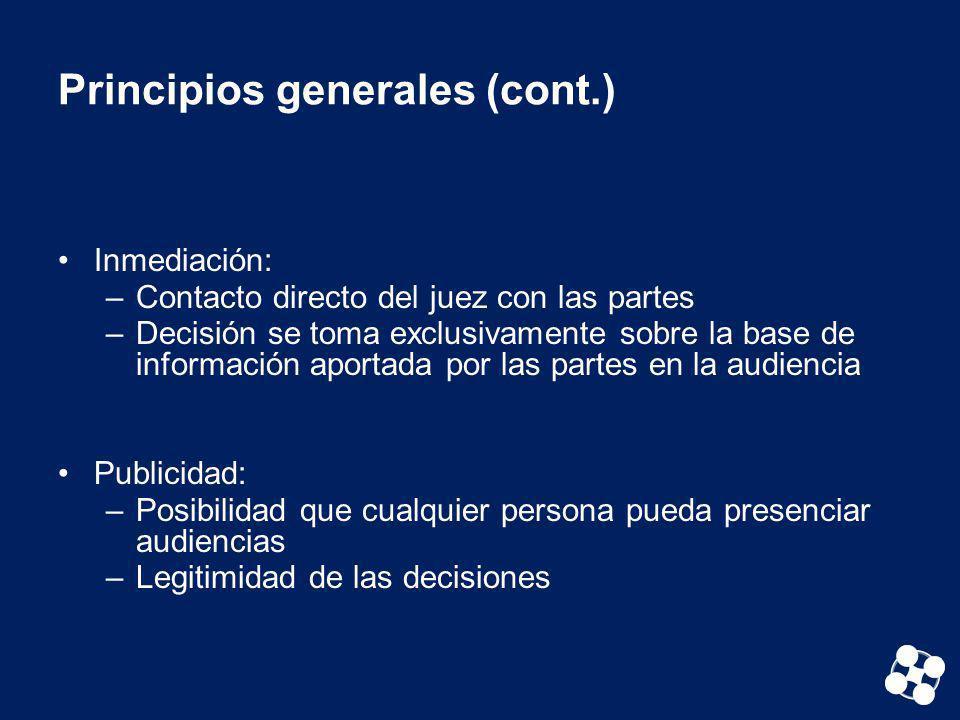 Principios generales (cont.) Inmediación: –Contacto directo del juez con las partes –Decisión se toma exclusivamente sobre la base de información apor