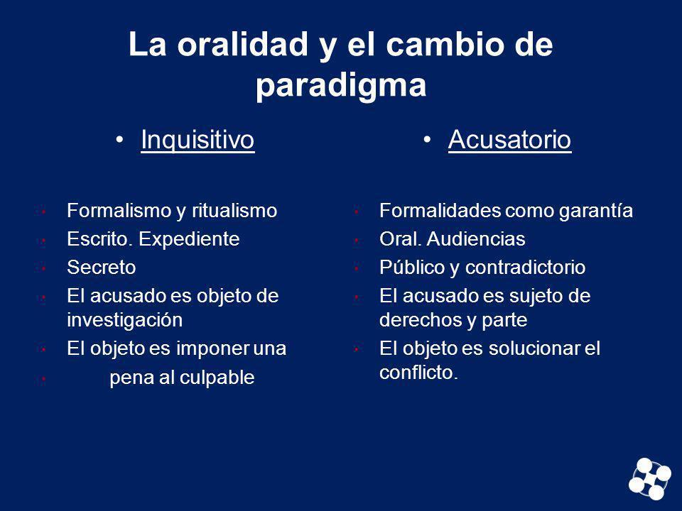 La oralidad y el cambio de paradigma Inquisitivo Formalismo y ritualismo Escrito. Expediente Secreto El acusado es objeto de investigación El objeto e