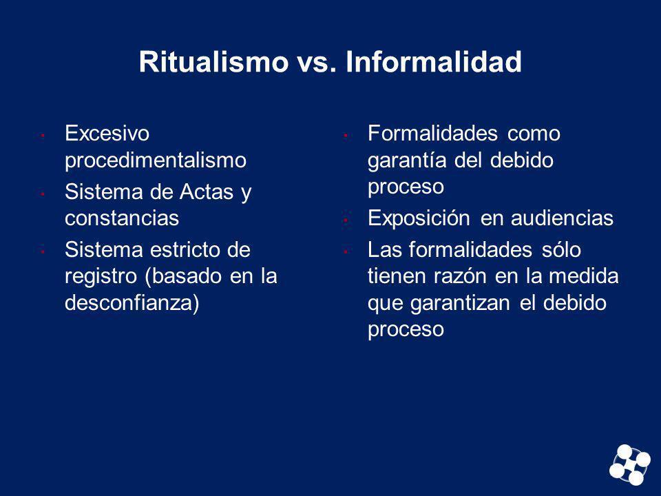 Ritualismo vs. Informalidad Excesivo procedimentalismo Sistema de Actas y constancias Sistema estricto de registro (basado en la desconfianza) Formali