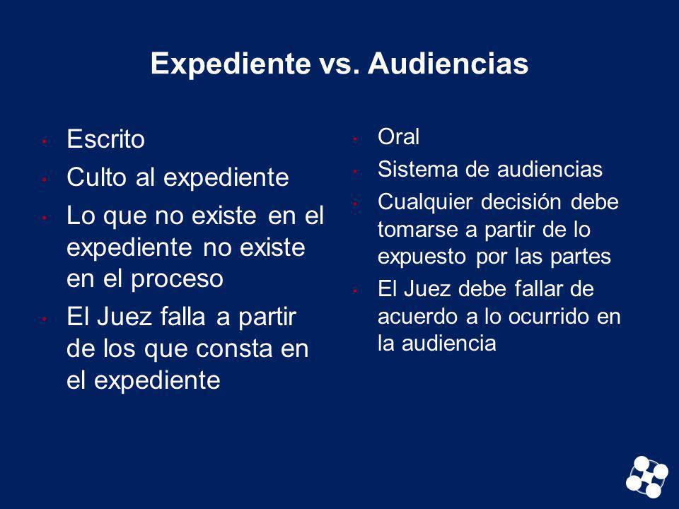 Expediente vs. Audiencias Escrito Culto al expediente Lo que no existe en el expediente no existe en el proceso El Juez falla a partir de los que cons