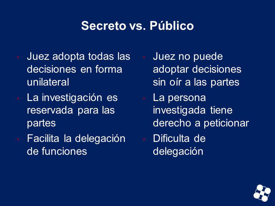 Secreto vs. Público Juez adopta todas las decisiones en forma unilateral La investigación es reservada para las partes Facilita la delegación de funci