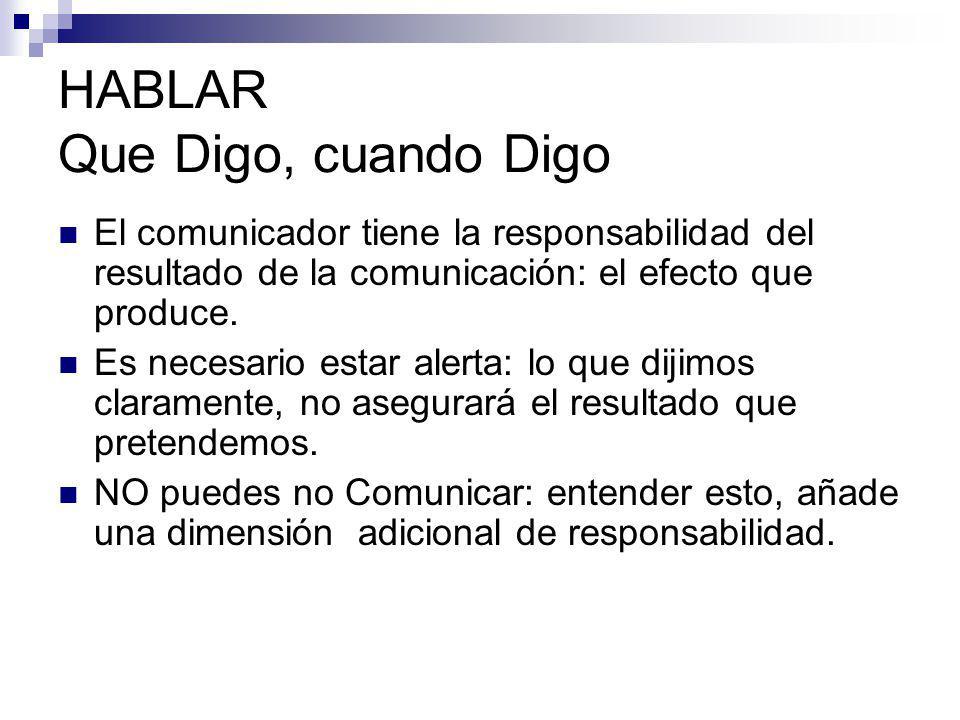 HABLAR Que Digo, cuando Digo El comunicador tiene la responsabilidad del resultado de la comunicación: el efecto que produce. Es necesario estar alert