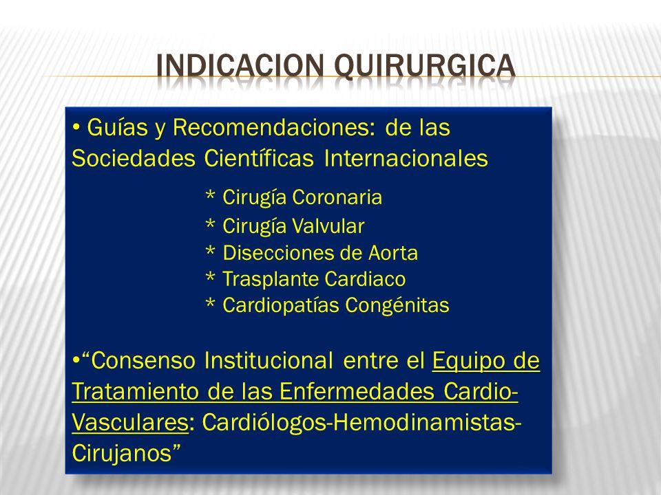 Guías y Recomendaciones: Guías y Recomendaciones: de las Sociedades Científicas Internacionales * Cirugía Coronaria * Cirugía Valvular * Disecciones d