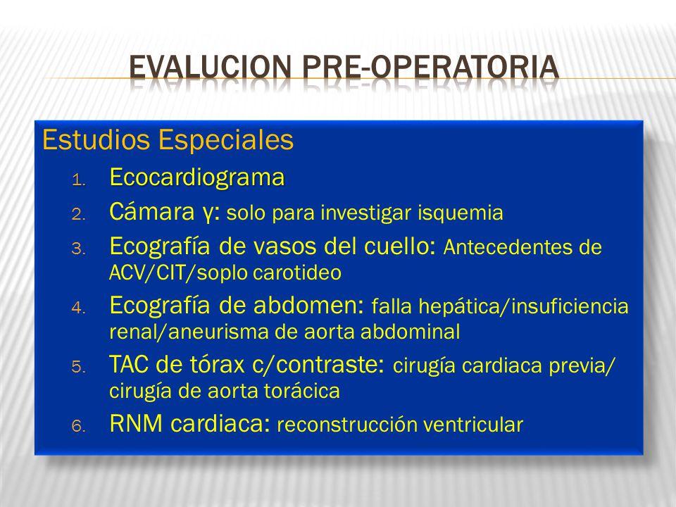 Estudios Especiales 1. Ecocardiograma 2. Cámara γ: solo para investigar isquemia 3. Ecografía de vasos del cuello: Antecedentes de ACV/CIT/soplo carot