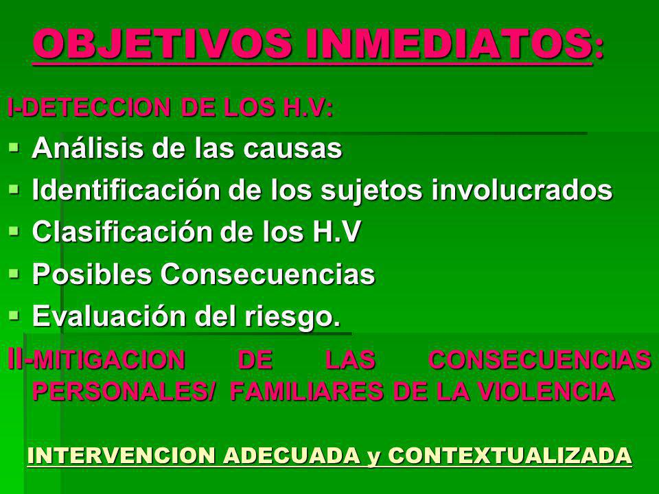 OBJETIVOS INMEDIATOS : I-DETECCION DE LOS H.V: Análisis de las causas Análisis de las causas Identificación de los sujetos involucrados Identificación