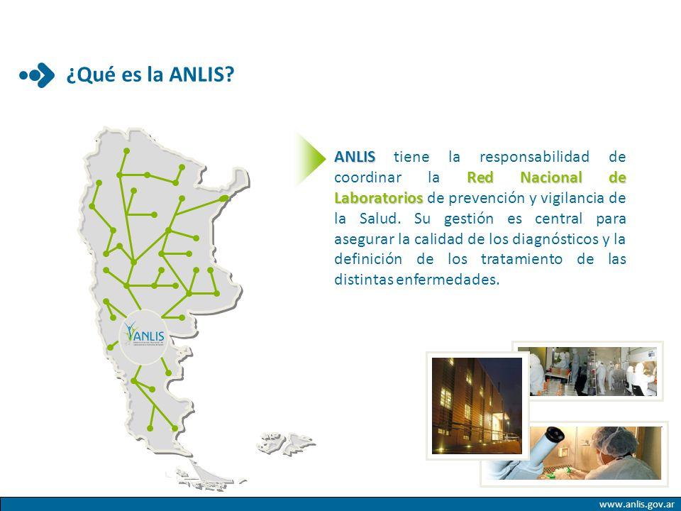 www.anlis.gov.ar ANLIS Red Nacional de Laboratorios ANLIS tiene la responsabilidad de coordinar la Red Nacional de Laboratorios de prevención y vigila