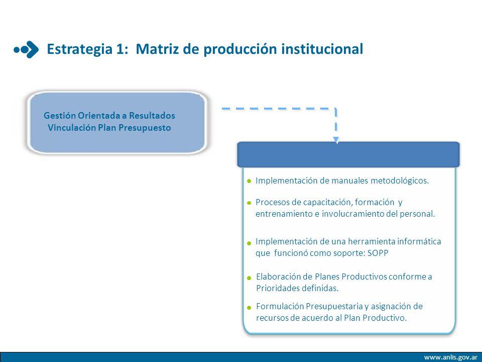 www.anlis.gov.ar Estrategia 1: Matriz de producción institucional Implementación de manuales metodológicos. Procesos de capacitación, formación y entr
