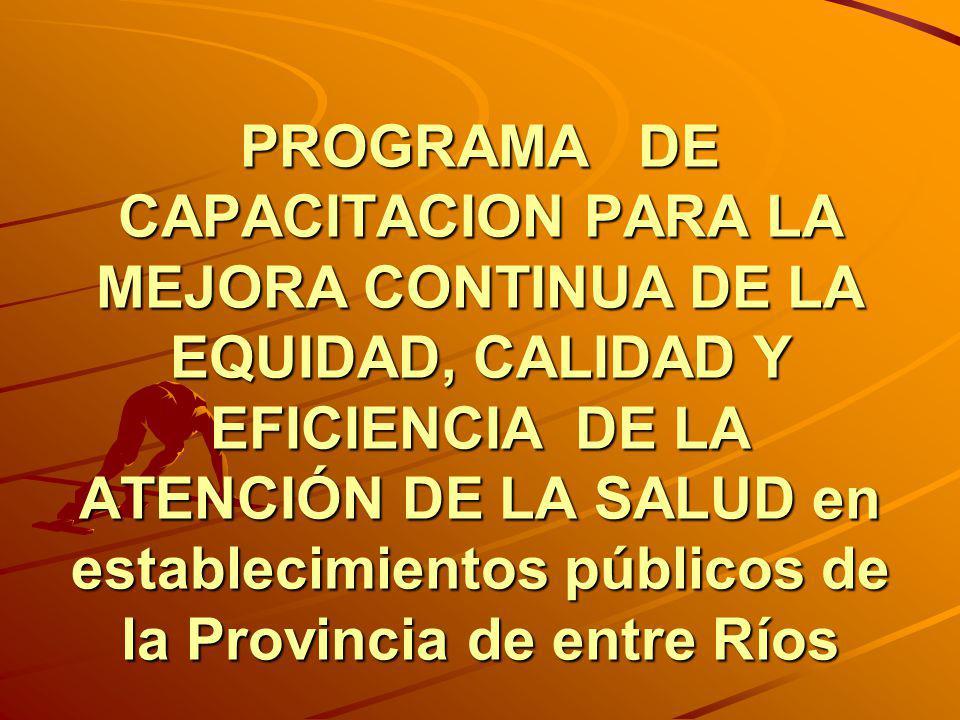 PROGRAMA DE CAPACITACION PARA LA MEJORA CONTINUA DE LA EQUIDAD, CALIDAD Y EFICIENCIA DE LA ATENCIÓN DE LA SALUD en establecimientos públicos de la Pro