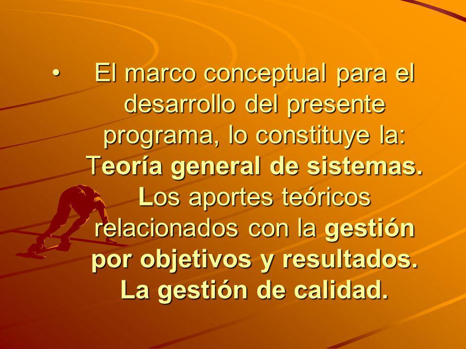 El marco conceptual para el desarrollo del presente programa, lo constituye la: Teoría general de sistemas. Los aportes teóricos relacionados con la g