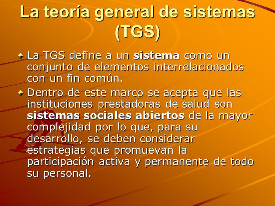 La teoría general de sistemas (TGS) La TGS define a un sistema como un conjunto de elementos interrelacionados con un fin común. Dentro de este marco