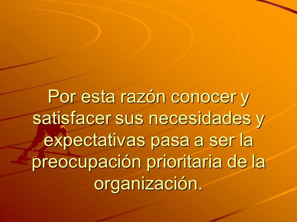 Por esta razón conocer y satisfacer sus necesidades y expectativas pasa a ser la preocupación prioritaria de la organización.
