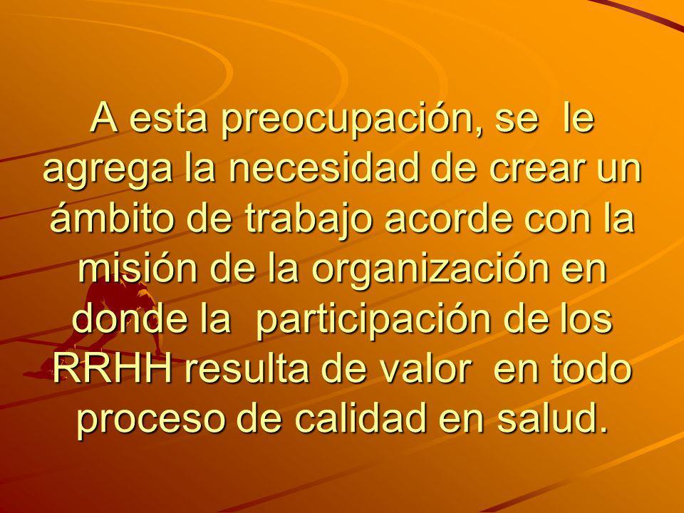 A esta preocupación, se le agrega la necesidad de crear un ámbito de trabajo acorde con la misión de la organización en donde la participación de los