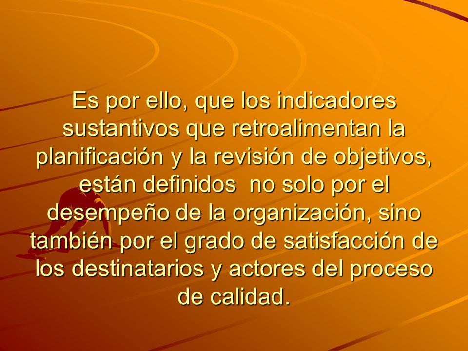 Es por ello, que los indicadores sustantivos que retroalimentan la planificación y la revisión de objetivos, están definidos no solo por el desempeño