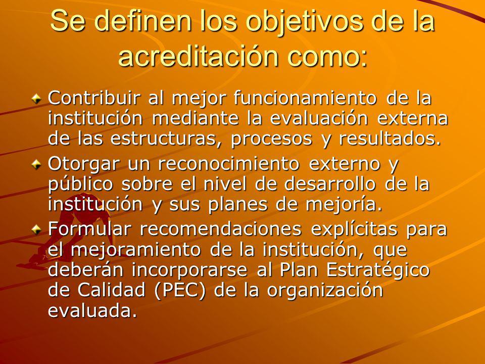 Se definen los objetivos de la acreditación como: Contribuir al mejor funcionamiento de la institución mediante la evaluación externa de las estructur