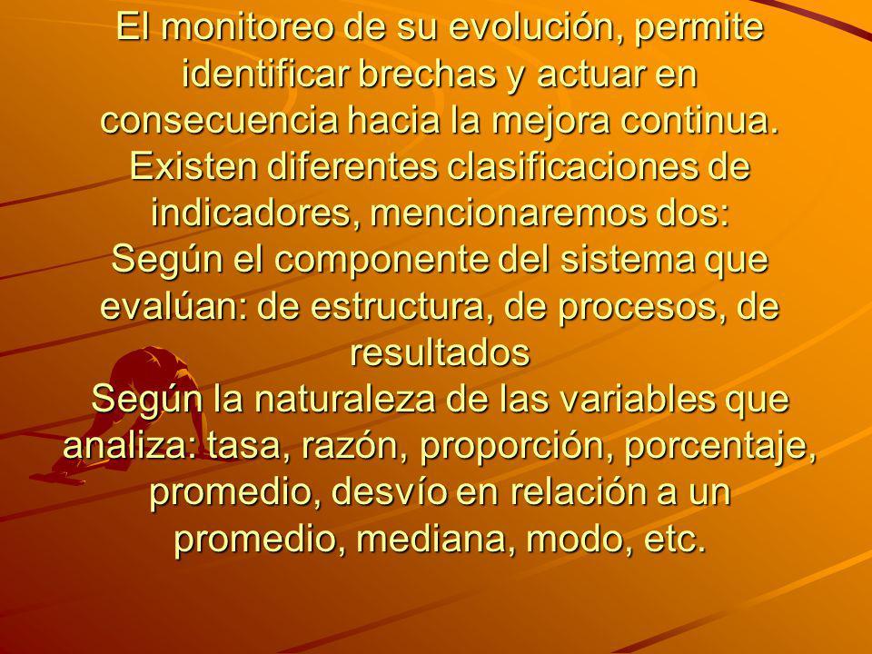 El monitoreo de su evolución, permite identificar brechas y actuar en consecuencia hacia la mejora continua. Existen diferentes clasificaciones de ind