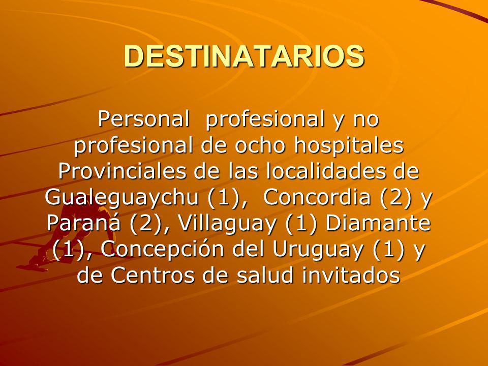 DESTINATARIOS Personal profesional y no profesional de ocho hospitales Provinciales de las localidades de Gualeguaychu (1), Concordia (2) y Paraná (2)